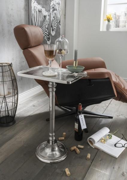 Beistelltisch LAMPE   eckig mit Trompetenfuß   Metall silber -natur vernickelt, HF97.411