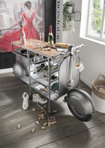 Bartisch in Rolleroptik ARGENTO   Metall silber/Mangoholz   mit Glas und Flaschenhalterung, HF95.031