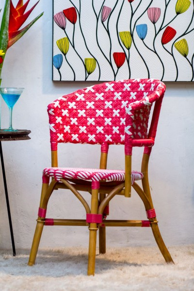 Bistro-Stuhl FASHION No. 4 | Rattan/Polygeflecht rot/weiß, HF96.300-31546