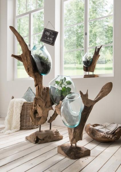 Holzskulptur / Deko-Wurzel mit Glasvase(n) in Tropfenform, verschiedene Ausführungen