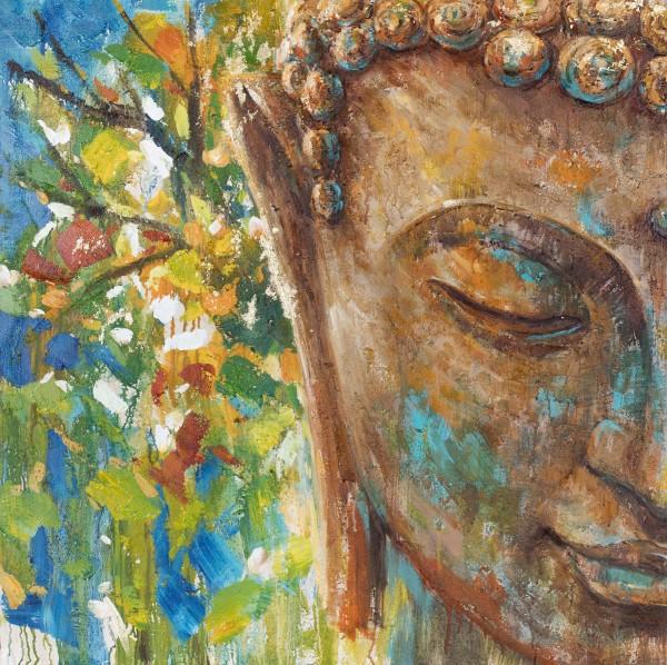Wandbild PART OF BUDDHA 1, handgemalt, in Acrylfarben