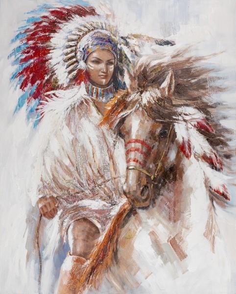 Wandbild INDIANERIN MIT PFERD, handgemalt, in Acrylfarben