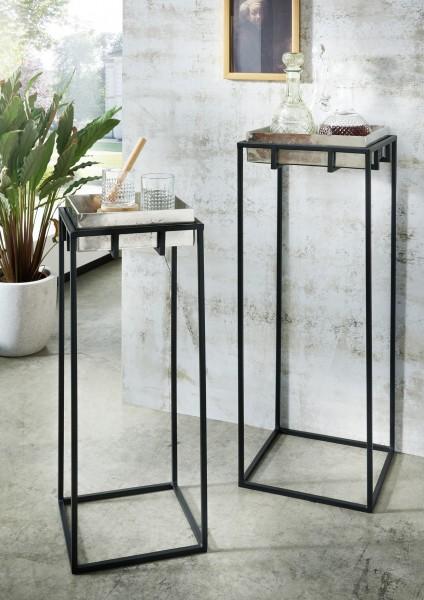 Deko-Säulen LIZ | 2-er Set | Metall Fuß schwarz/Platte silberfarbig reversibel, HF97.379