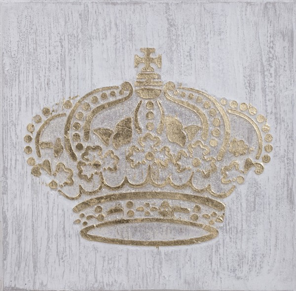 Struktur-Wandbild Krone Gold