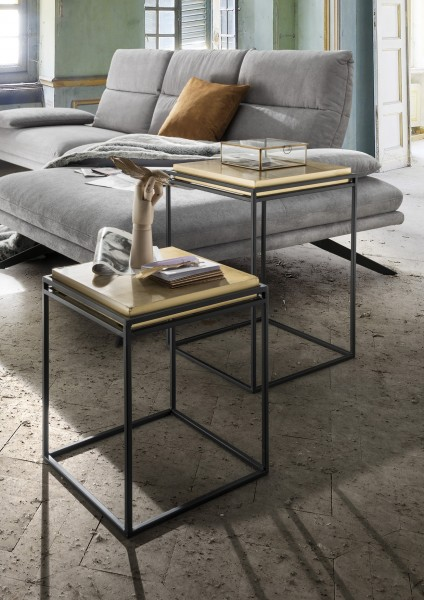 Beistelltische TWIN | 2-er Set | Metall Fuß schwarz/Platte MDF goldfarben glänzend, HF97.389