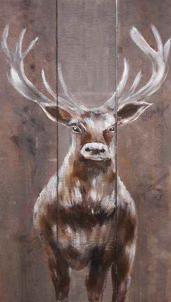 Wandbild auf Holz BRUNFT-HIRSCH No. 2