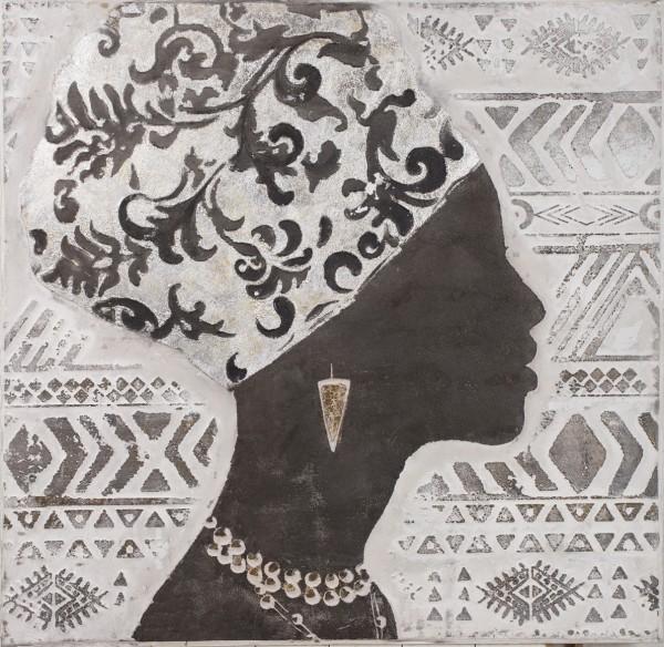 Struktur-Wandbild Frau im Profil 1