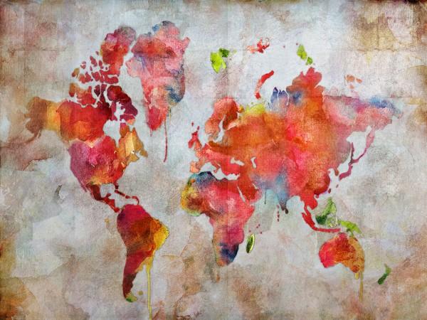 Wandbild MUNDO, handgemalte Weltkarte in Gelfarben