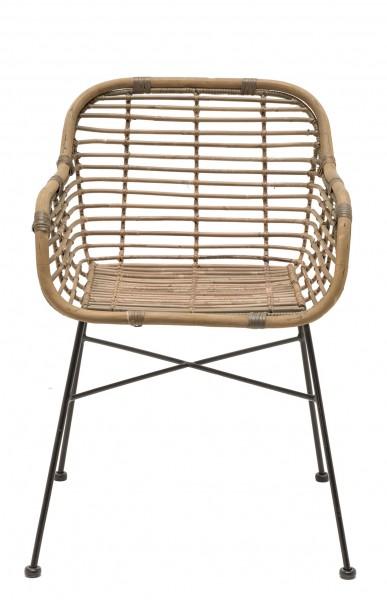 Rattan-Stuhl mit Armlehnen DETROIT in natur mit schwarzem Gestell