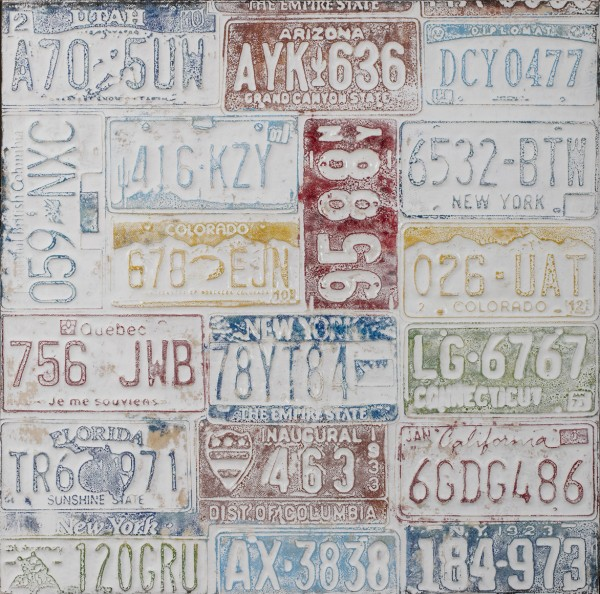 Struktur-Wandbild mit Rahmen US-Nummernschilder