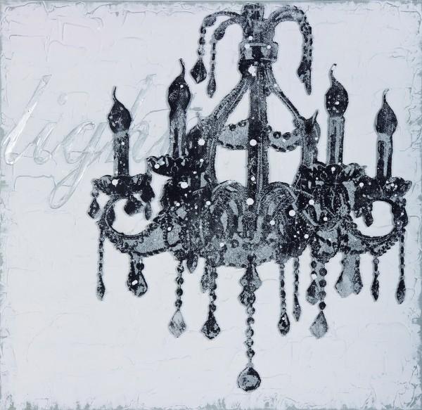 Wandbild KRONLEUCHTER 2, handgemalt, in Acrylfarben