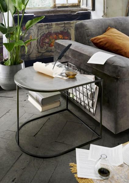 Beistelltisch MALI | mit Zeitungs-Ablage Metall schwarz/Platte silber -natur vernickelt, HF97.395