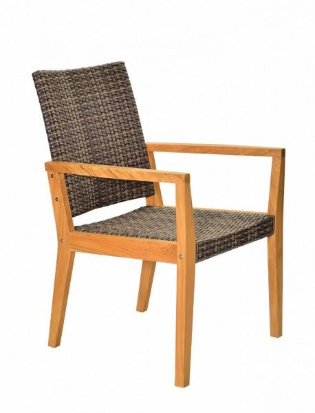 Gartenstuhl mit Armlehnen LIMA 2   Teak/Polygeflecht, braun   outdoor-geeignet, HF96.361-VE-122466
