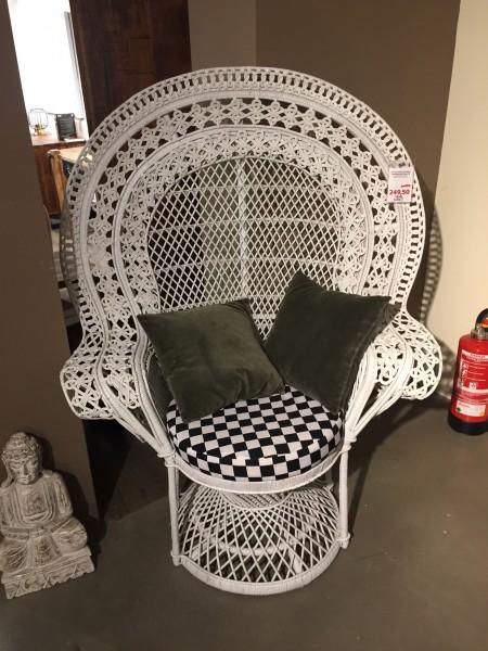 Pfauen- / Rattan-Sessel mit Kissen 31291