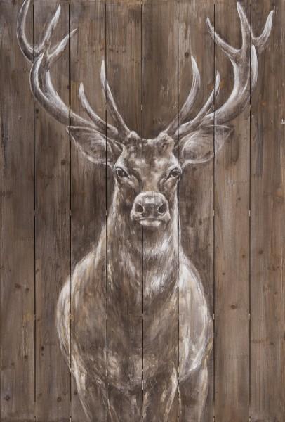 Holz-Wandbild HIRSCH, handgemalt, in Acrylfarben