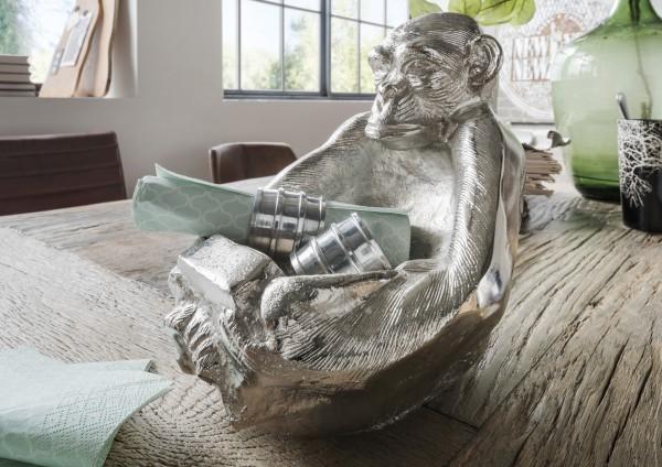 Deko-Schale MONKEY | Affe mit Ablageschale in Aluminium massiv (3 KG) silber-natur vernickelt, HF97.