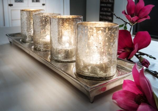 Teelichthalter mit 4 Antik-Gläsern