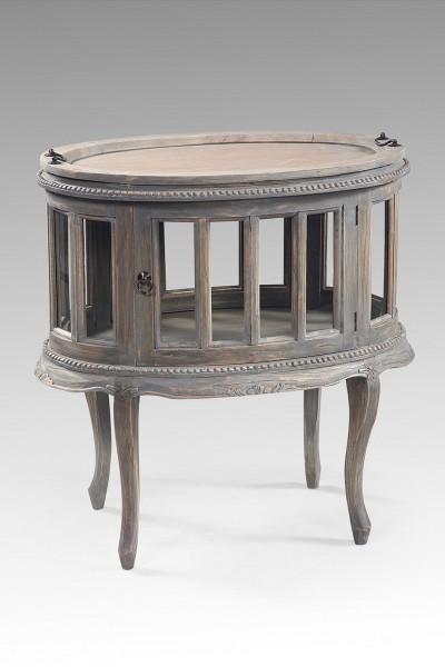 Tee- oder Barschrank mit 2 Türen in vintage grau