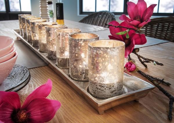 Teelichthalter mit 9 Antik-Gläsern