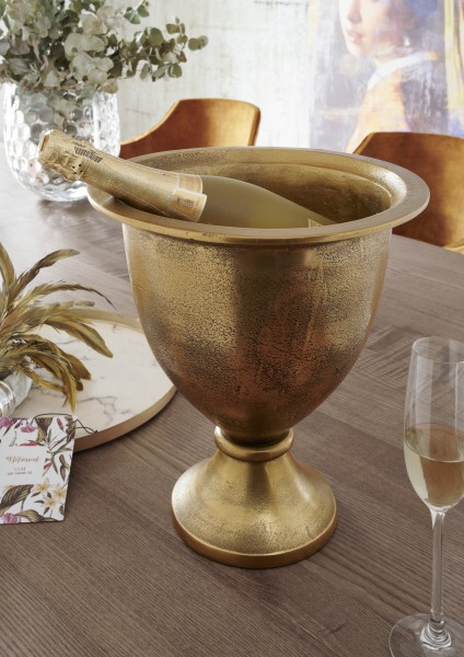 Champagner/Wein- Kühler BUCKET | small | Aluminium vintage antik-gold, HF97.369