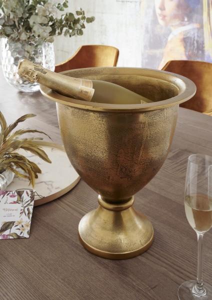 Champagner/Wein- Kühler BUCKET   large   Aluminium vintage antik-gold, HF97.370