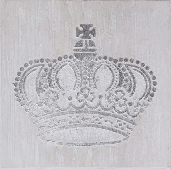 Struktur-Wandbild Krone Silber