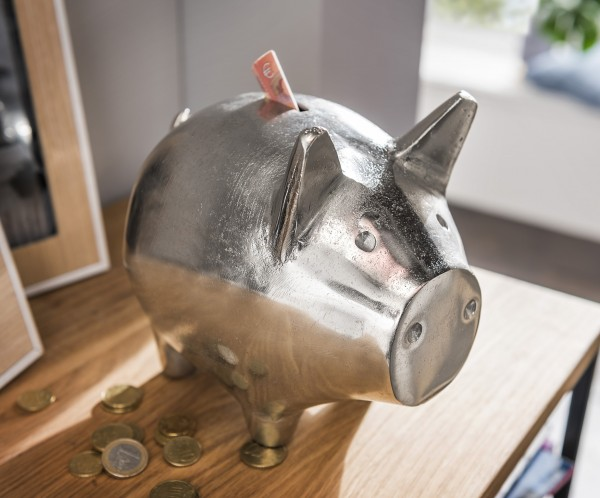 Deko-Sparschwein BIG PIG   Metall silber-natur vernickelt, HF97.319