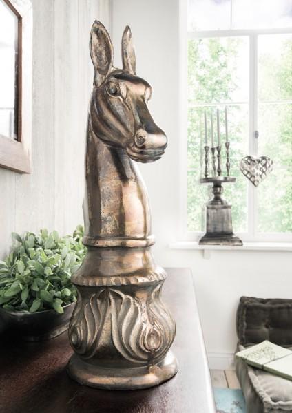 Metallskulptur / Dekofigur PFERD, bronzefarbig
