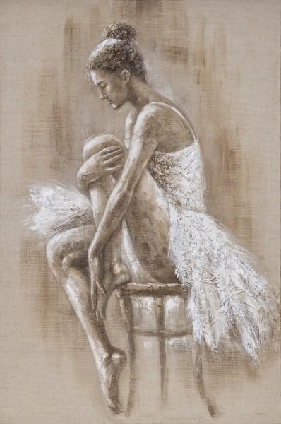 Wandbild BALLERINA SITZEND, handgemalt, in Acrylfarben