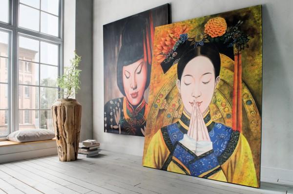 Wandbild WOMAN 1 (links), handgefertigt, in Acrylfarben