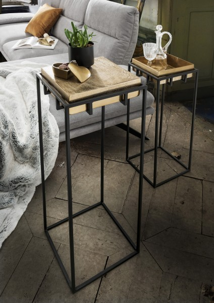Deko-Säulen LIZ   2-er Set   Metall Fuß schwarz/Platte goldfarbig reversibel, HF97.380