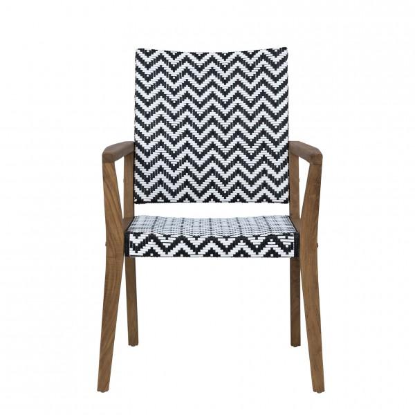 Gartenstuhl mit Armlehnen LIMA 4 | Teak/Polygeflecht, schwarz/weiß | outdoor-geeignet , HF96.363-VE-