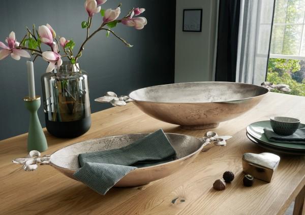 Deko Schale LILIE in Bootsform | mit französischen Lilien | XXL- 82cm breit | Metall silber-natur ve