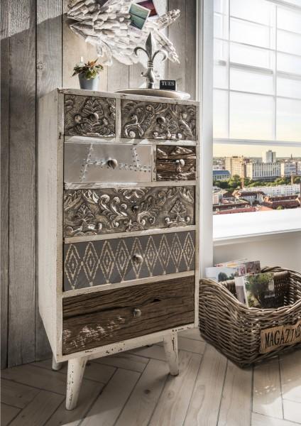 Hochkommode CARVE | handgearbeitet | Mangoholz/Altholz massiv vintage weiß mit 7 Schubladen, 99.200.