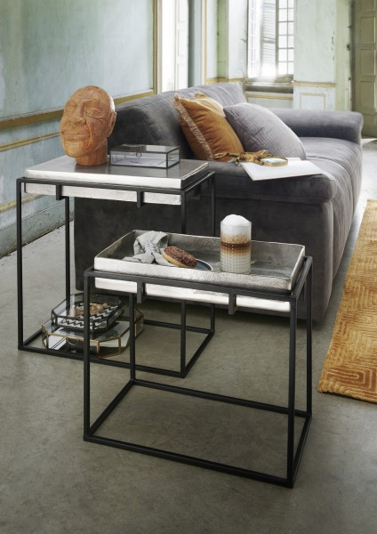 Beistelltisch TICK | SMALL | Metall Fuß schwarz/Platte silberfarbig reversibel, HF97.388
